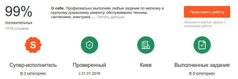 Інформація у профілі супер-виконавця на сервісі Кабанчик